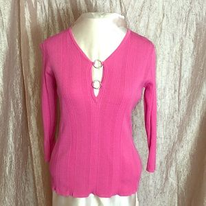 ONE GIRL HOT PINK TOP/SILVER BUTTONS